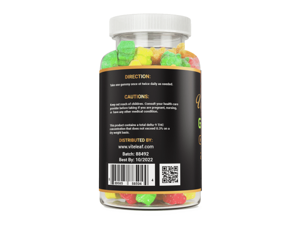 1000mg CBD 60 count hemp gummy bear vite leaf qr scan code for 3rd party authenticated labs