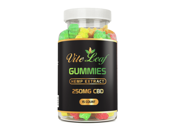 250mg CBD 15 count hemp gummy bear vite leaf