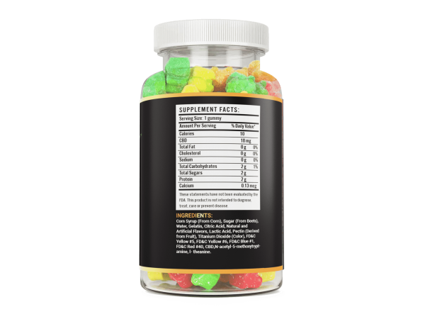 250mg CBD 15 count hemp gummy bear vite leaf supplement facts