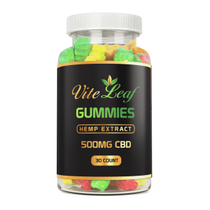 500mg CBD 30 count hemp gummy bear vite leaf